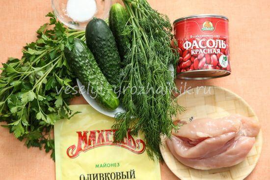 Продукты для салата с фасолью