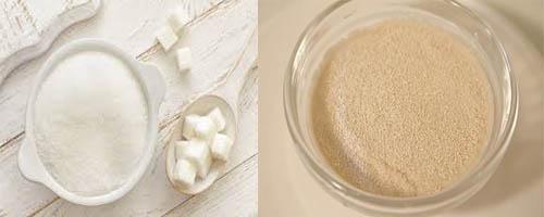 сахар и сухие дрожжи