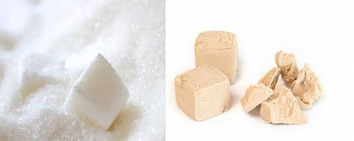 сахар и сырые дрожжи