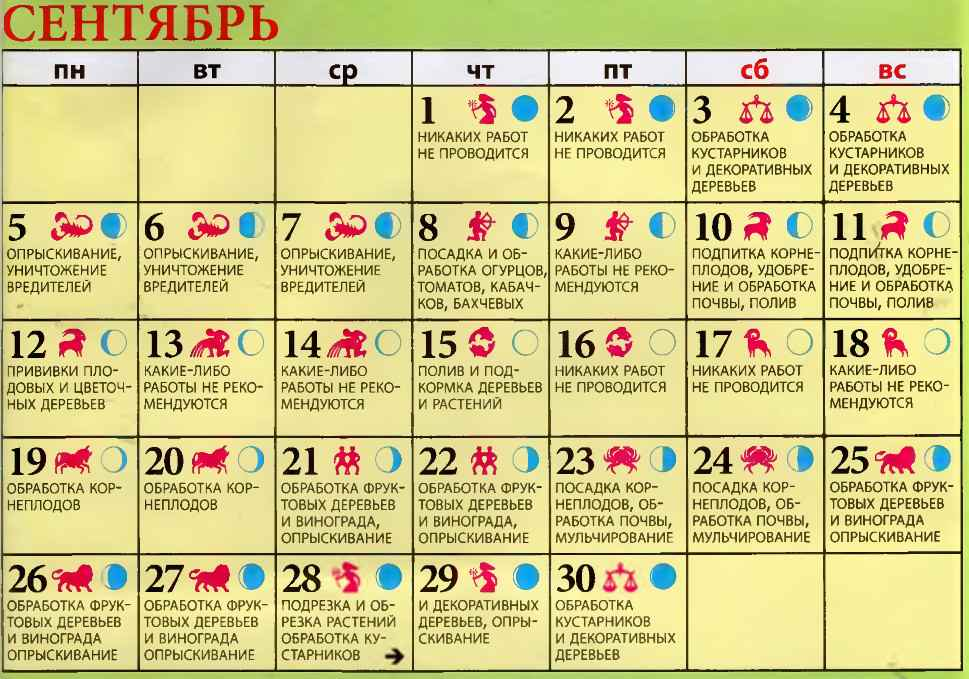 лунный календарь огородника сентябрь